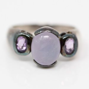 Jewelry - Sterling Purple Amethyst & Jade Cabochon Ring 7.25
